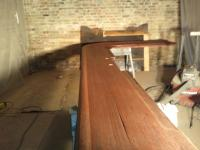 Restaining of The Nook's Bar Top After Fire